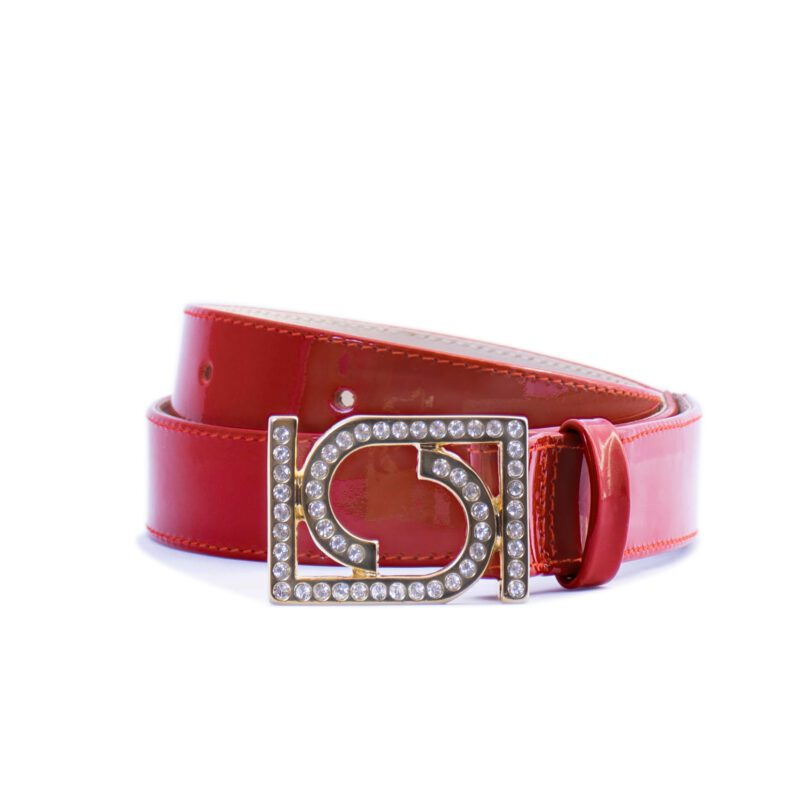 red leather belt with jeweled buckle