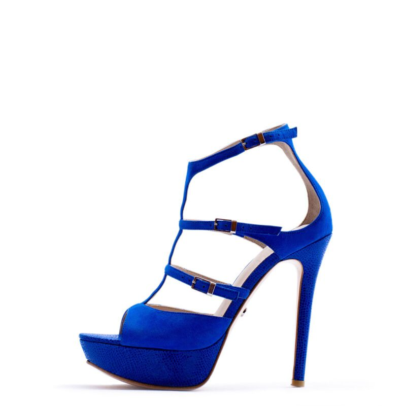 blue strappy high heels for men and women