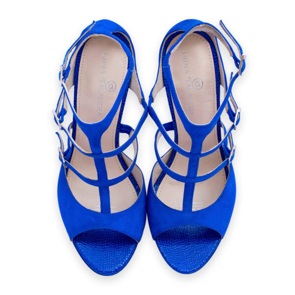 blue ankle strap high heels for men and women