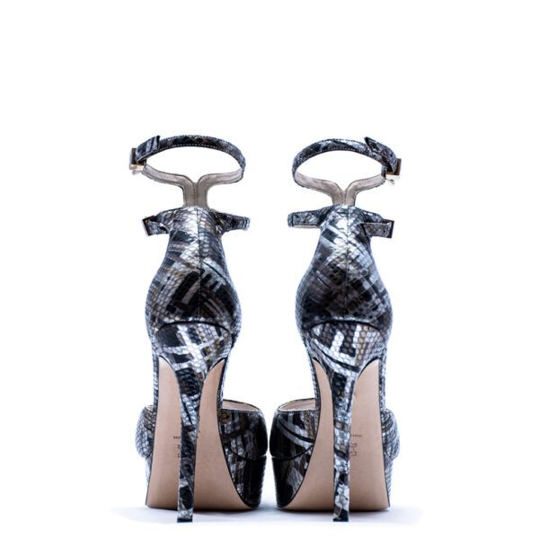 silver and black heels for men and women