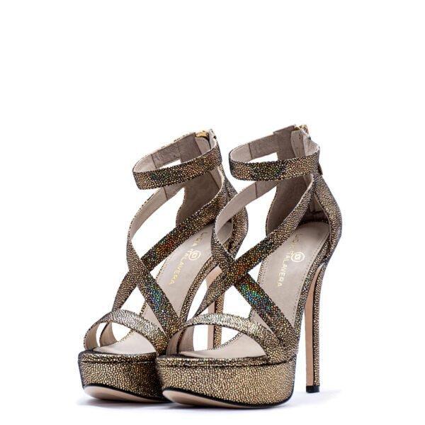 gold strappy platform heels for men and women