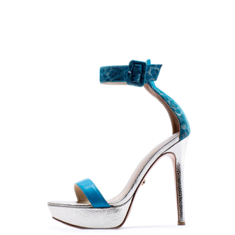 blue and silver high heels for men and women