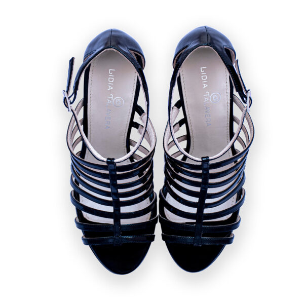 black strappy heels for men and women