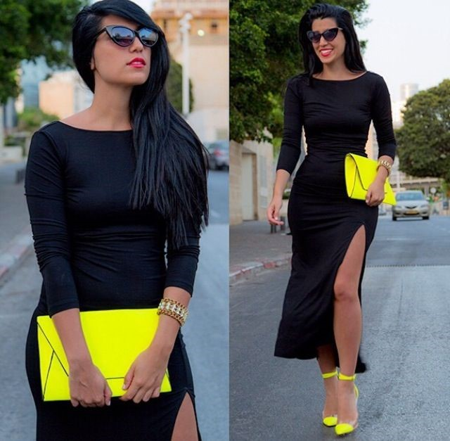 How To Match Neon Shoes Black Dress