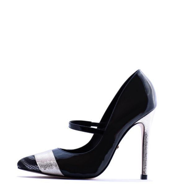 black and silver stilleto heels for men and women