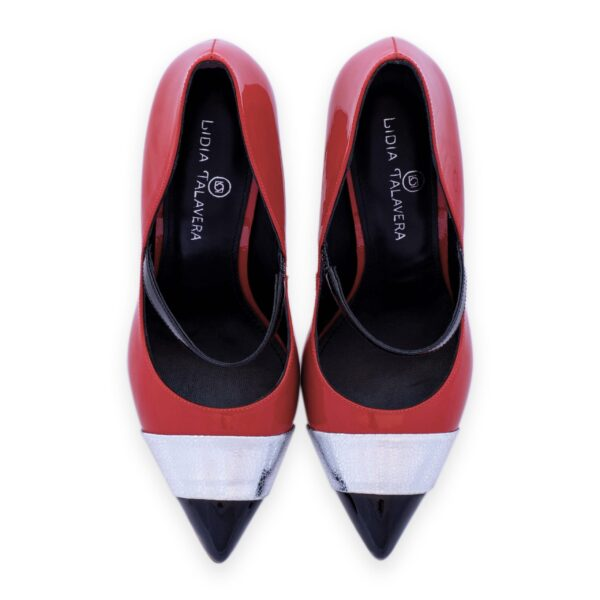 red silver and black pointy high heels for men and women