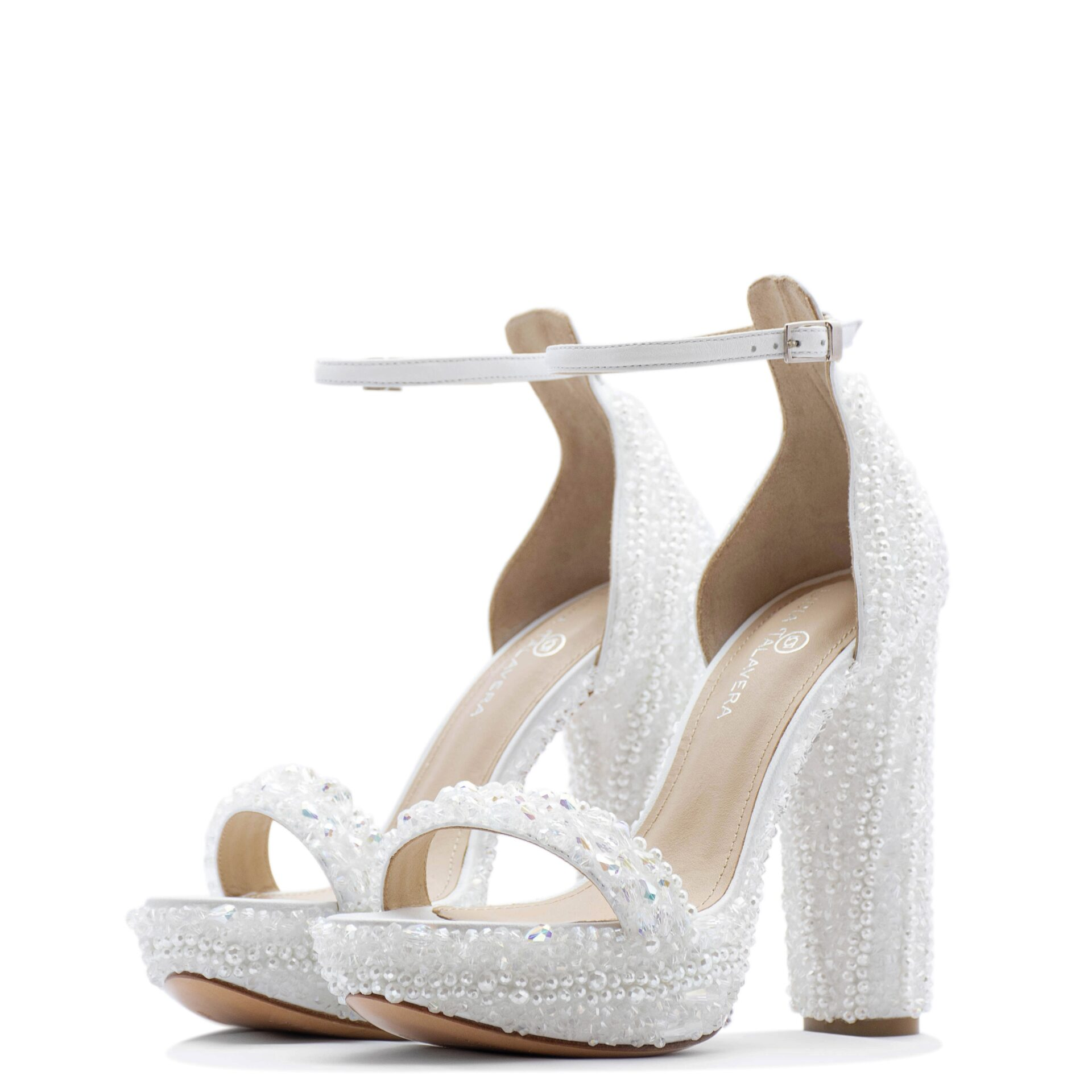 white bride sandals with crystals