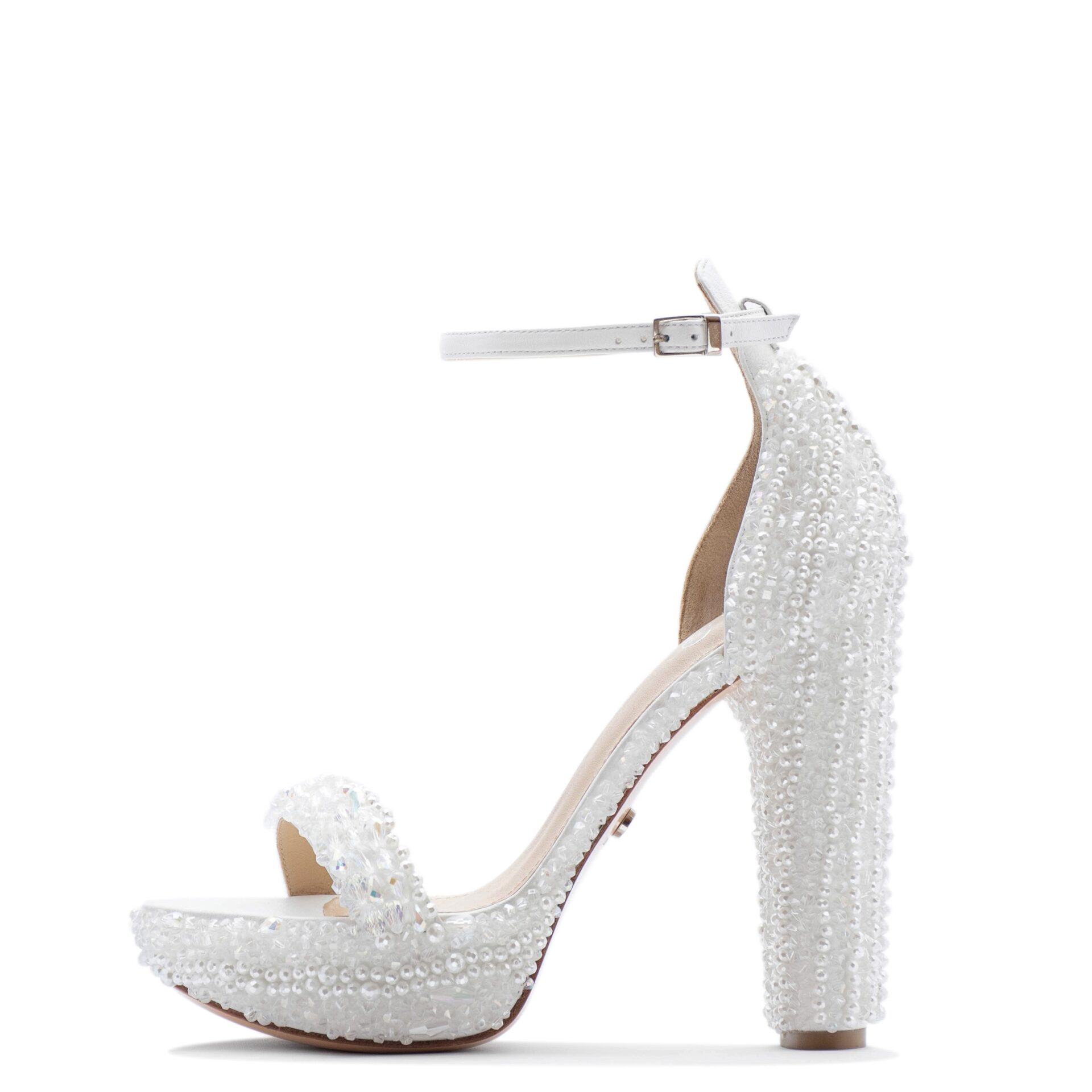 White wedding shoes with crystals