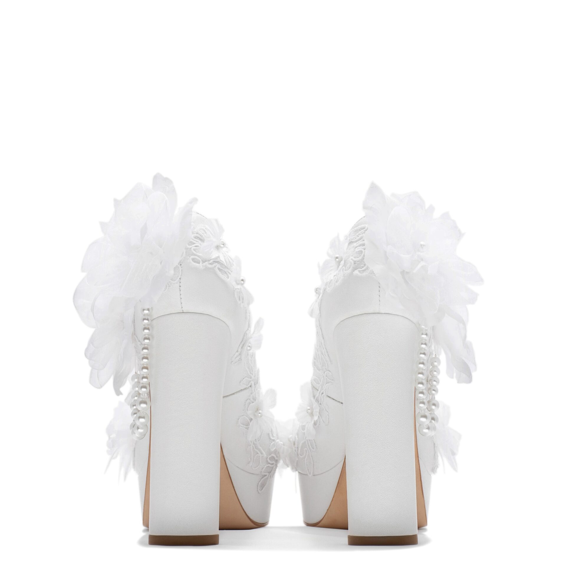 bride platform pump with lace and pearls