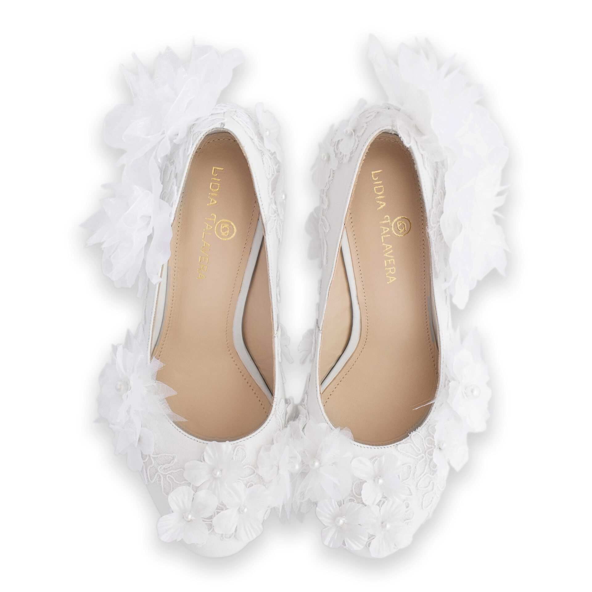 white wedding pumps with flowers & pearls