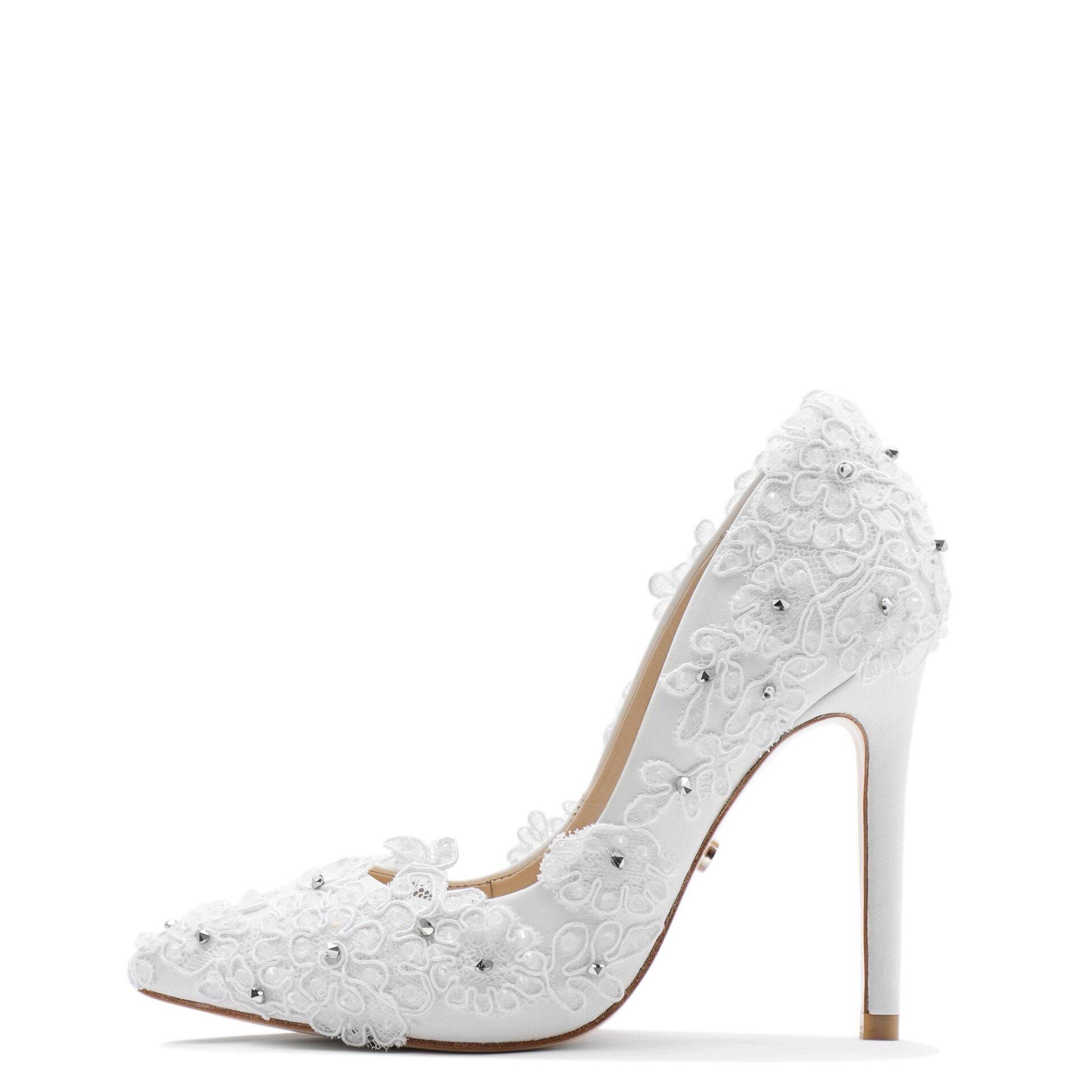 White wedding pump with lace & crystals