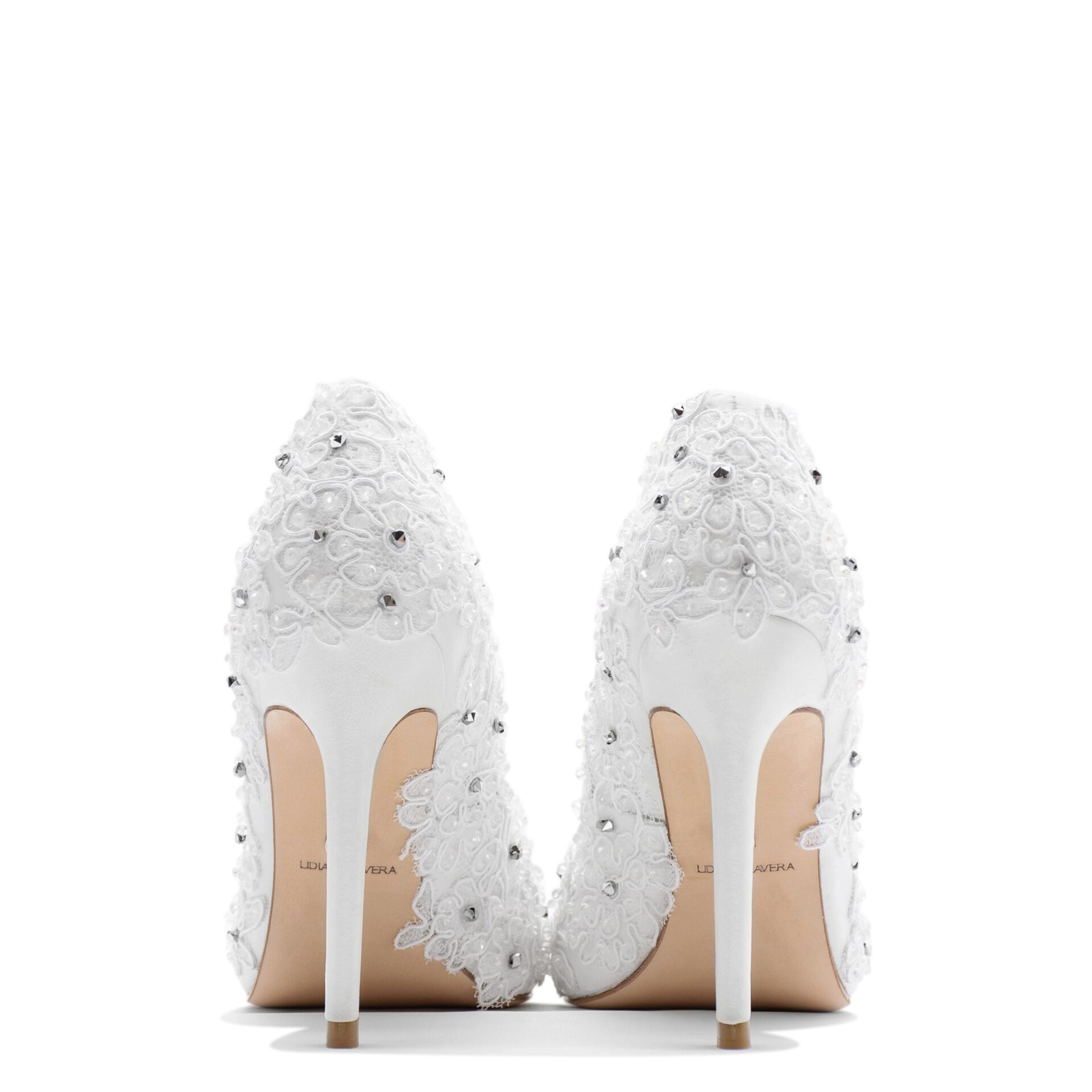 Bridal pointed toe pump with lace & crystals