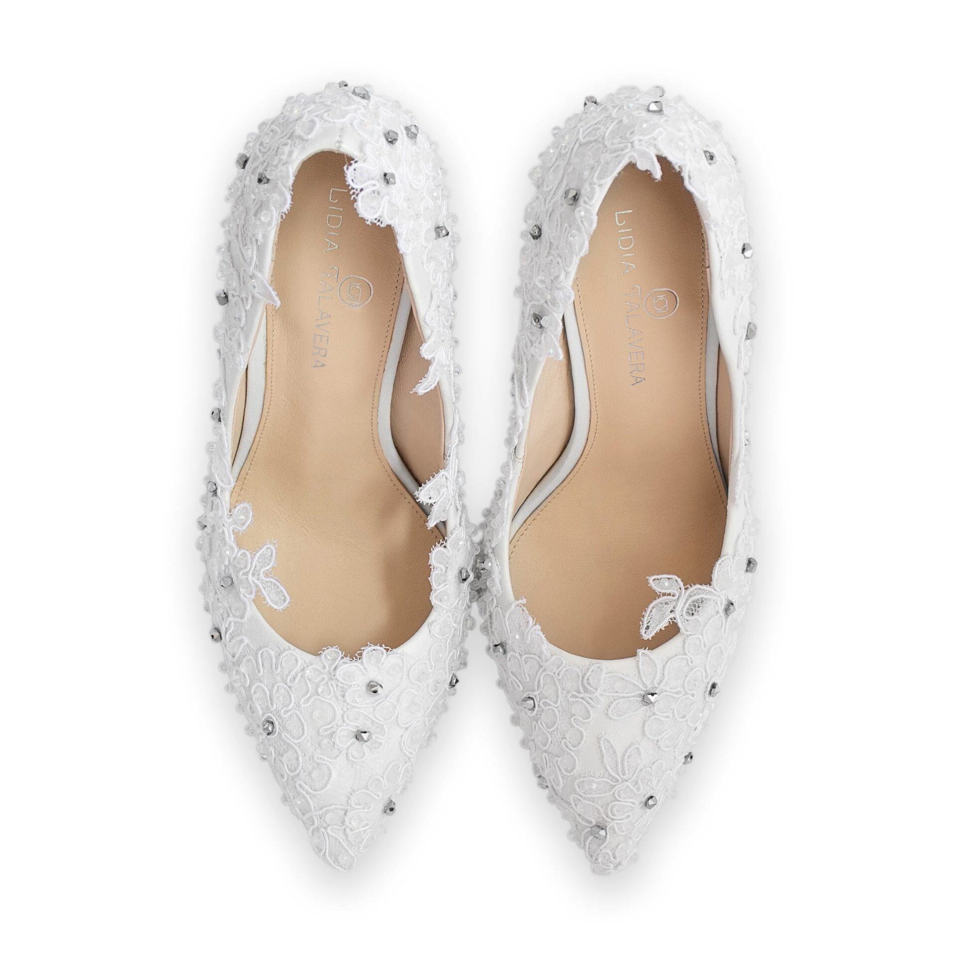 wedding pointed toe bridal pump with lace & crystals