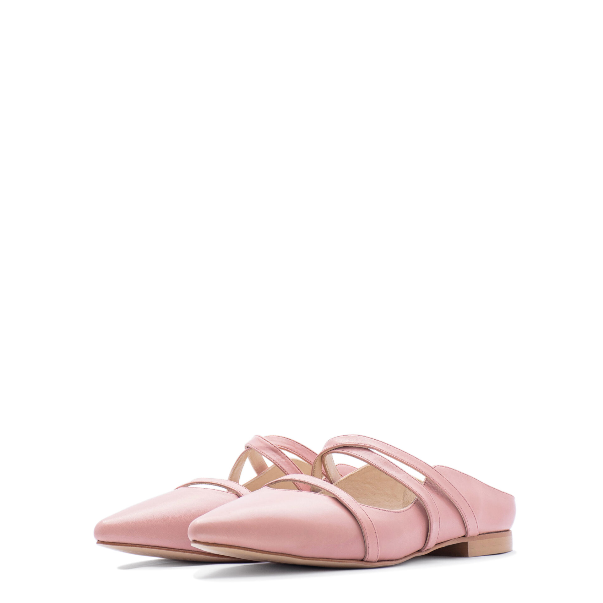 Pink pointed-toe strappy bridal flats flats