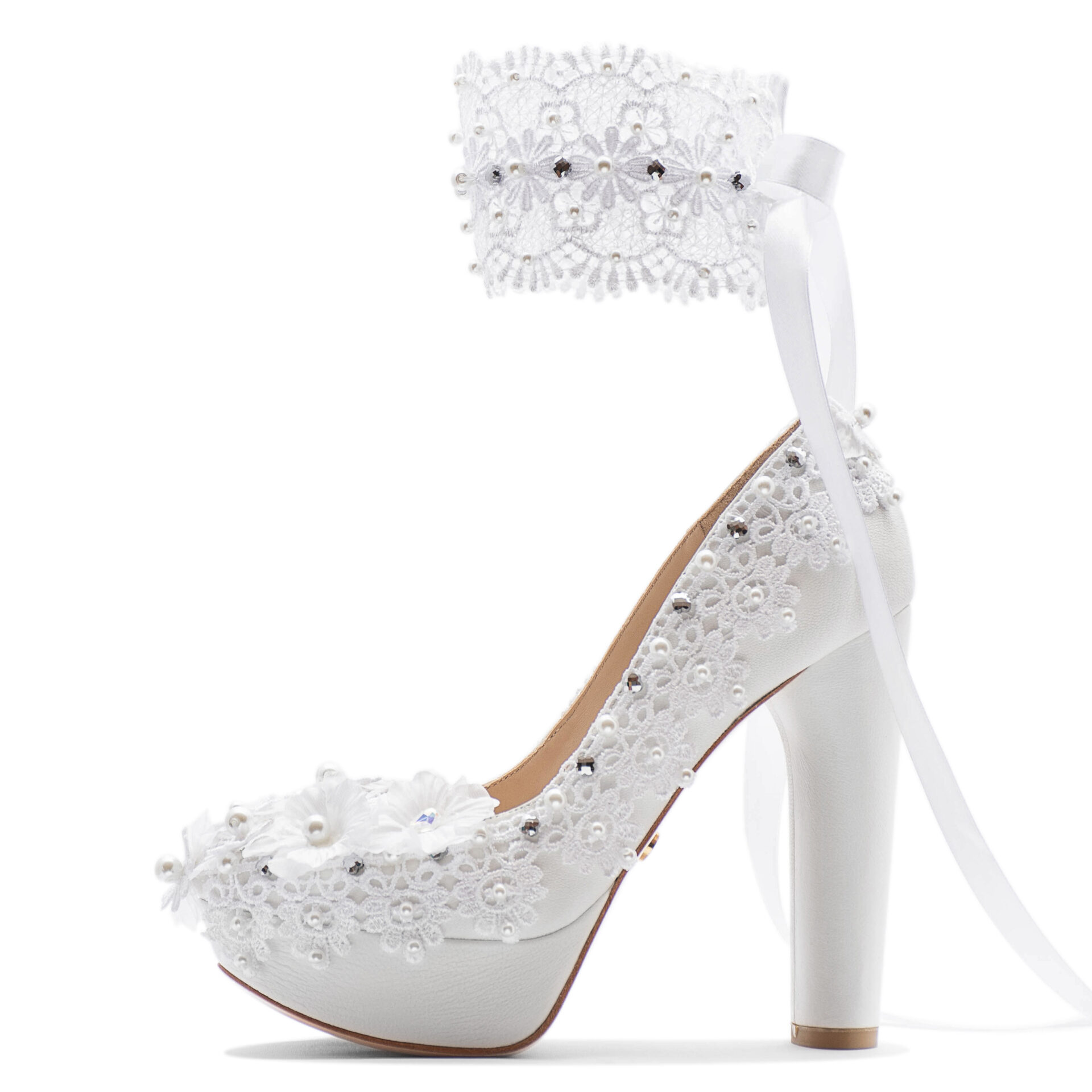 wedding shoes with lace and crystals