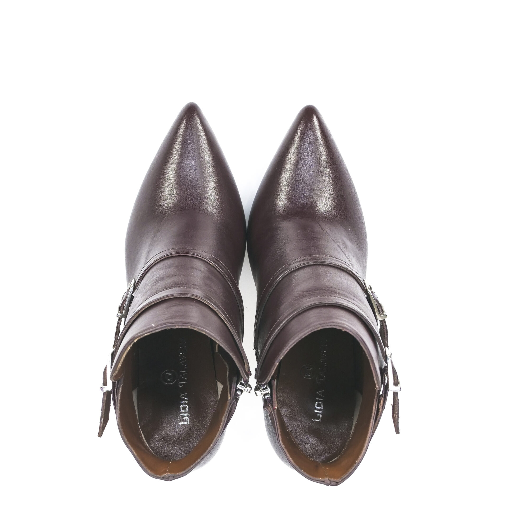 brown leather pointed toe booties with straps and buckles