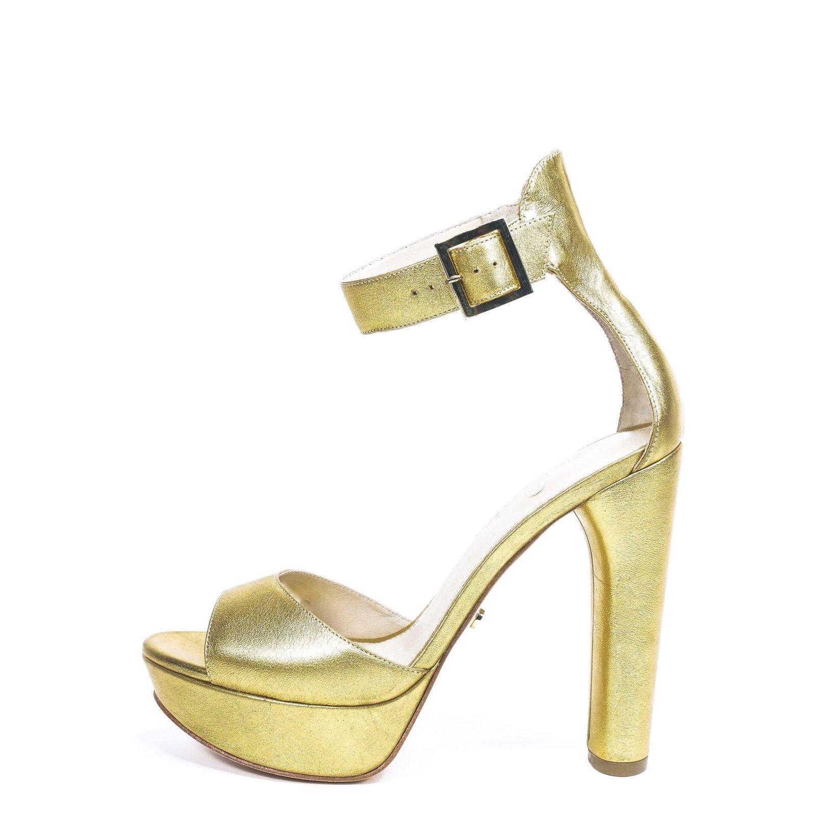 gold platform high heels for men & women