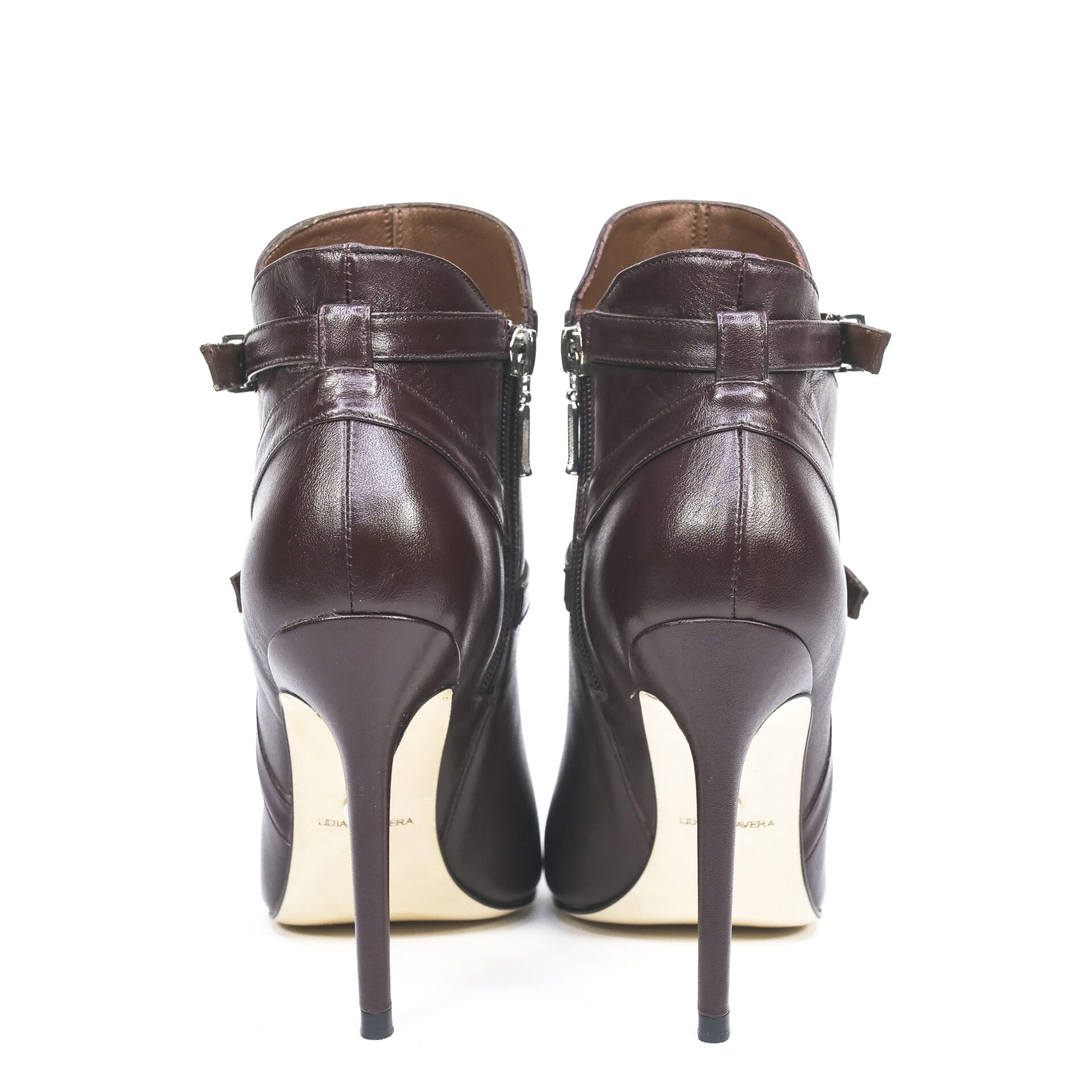 pointed-toe booties with buckles