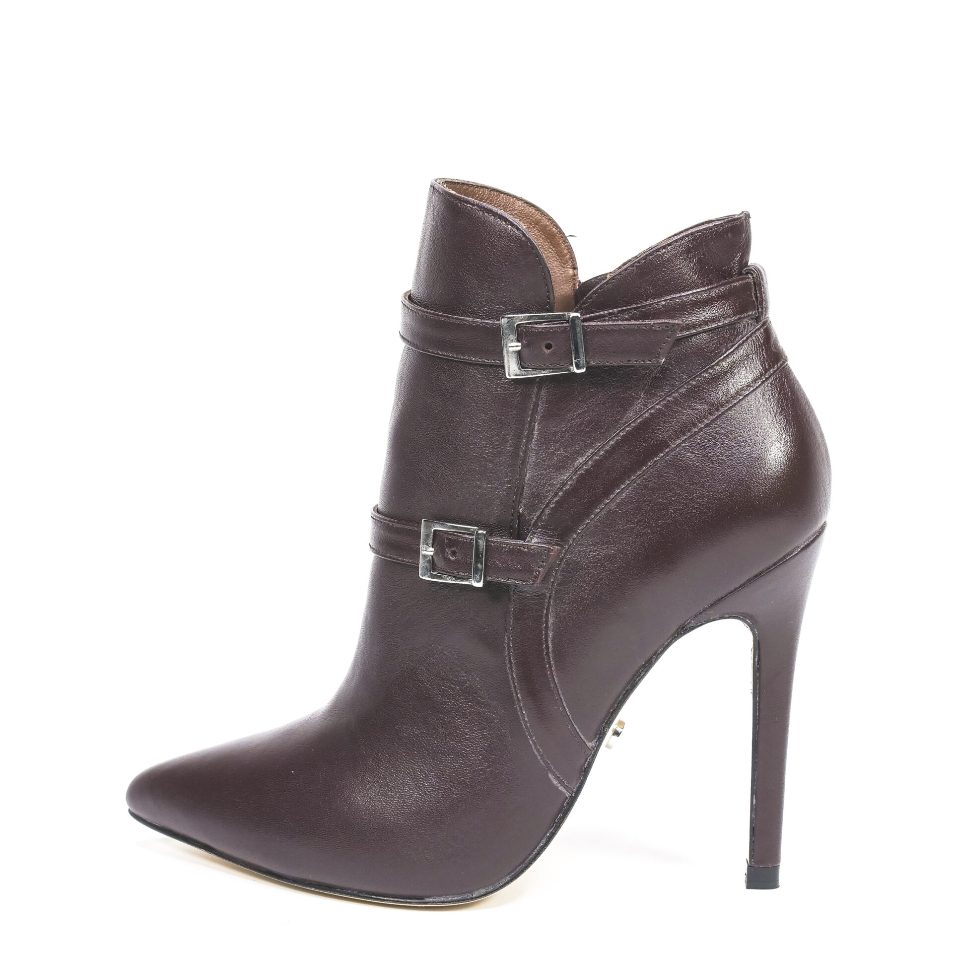 brown leather pointed-toe bootie